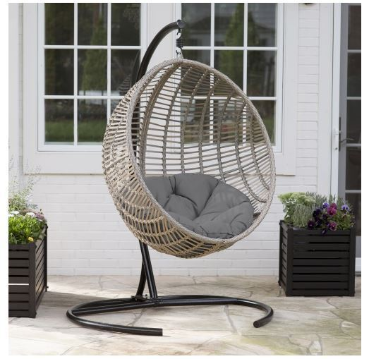 Marvelous Resin Wicker Gray Cushion Hanging Egg Patio Swing Outdoor Home Furniture  Deck | EBay