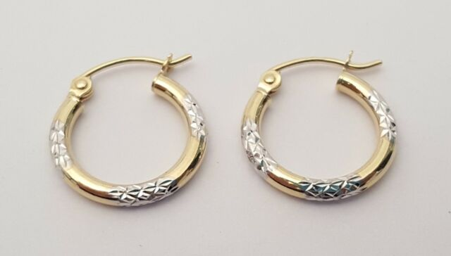 Round Hoop Earrings Solid 14k Yellow White Gold Diamond Cut