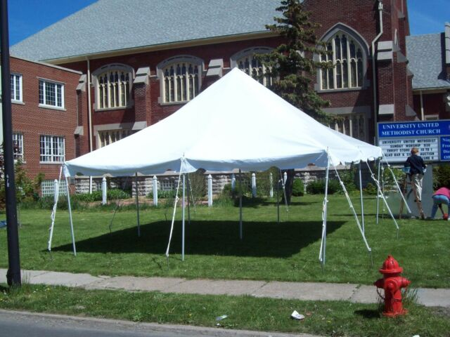 20 x 20 White Canopy Pole Tent Commercial Wedding Party Event Tent Gazebo Shade & 20 X 20 White Canopy Party Pole Tent Commercial Heavy Duty Event ...
