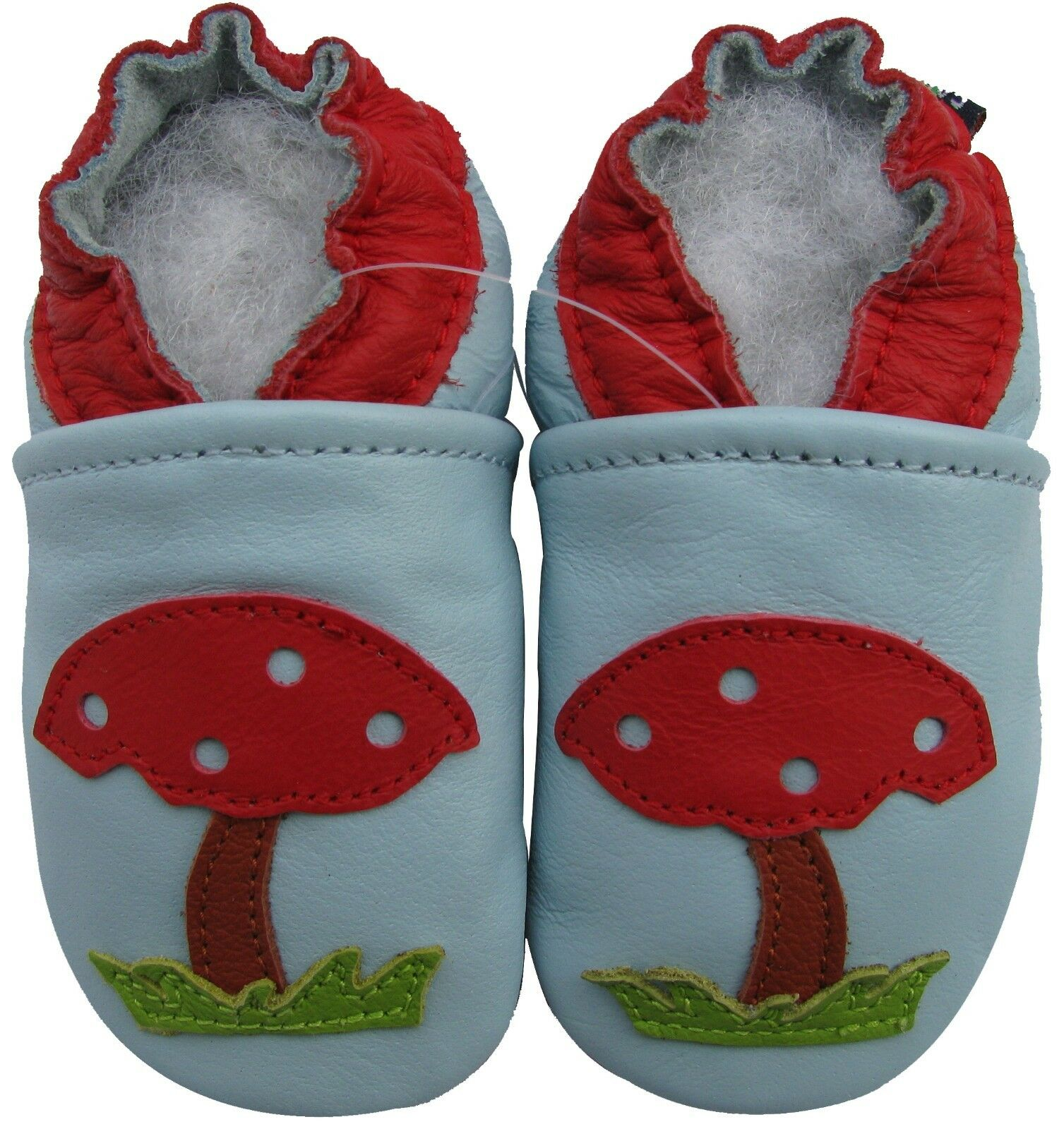 Carozoo Soft Sole Leather Baby Shoes Mushroom Light Blue 0 6m