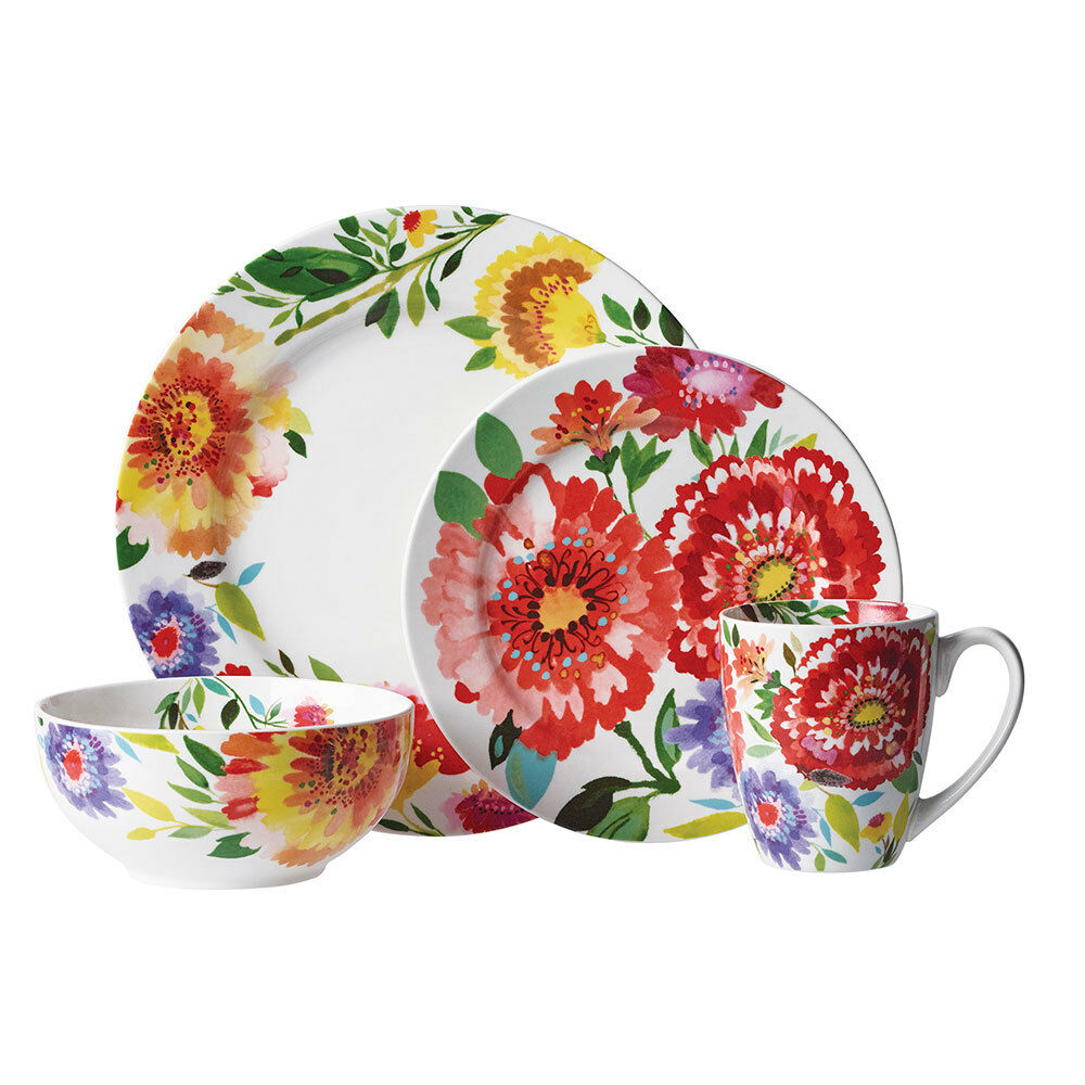 Picture 1 of 1  sc 1 st  eBay & Gourmet Basics by Mikasa Zinnia Garden 16-piece Dinnerware Set ...