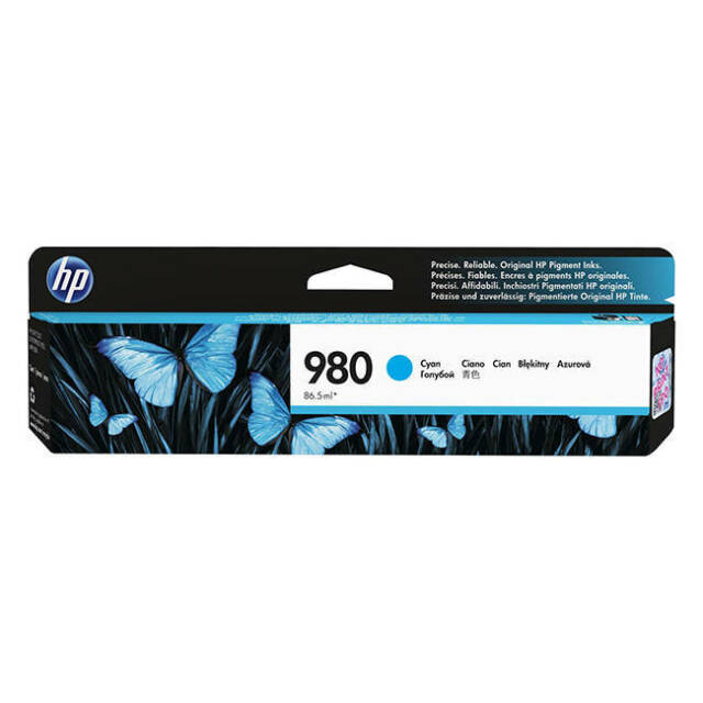 Original HP 980 Cyan Ink Cartridge For Officejet Enterprise Colour (D8J07A)