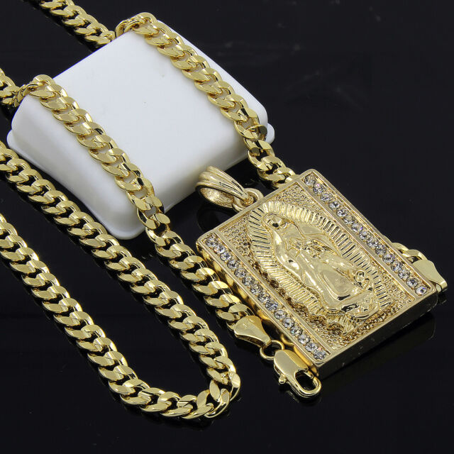 Mens gold plated hip hop block virgin mary pendant 24 cuban chain 1100 mozeypictures Gallery