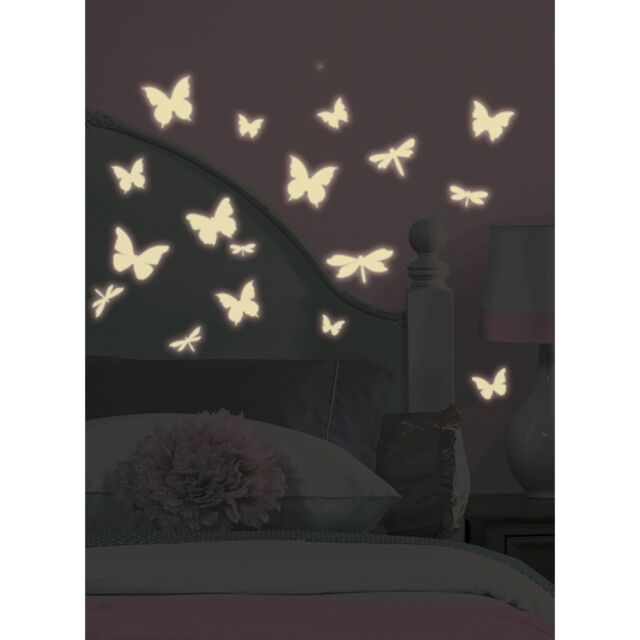 DRAGONFLIES U0026 BUTTERFLIES Wall Stickers 80 GLOW IN DARK Decals Room Decor  Bugs