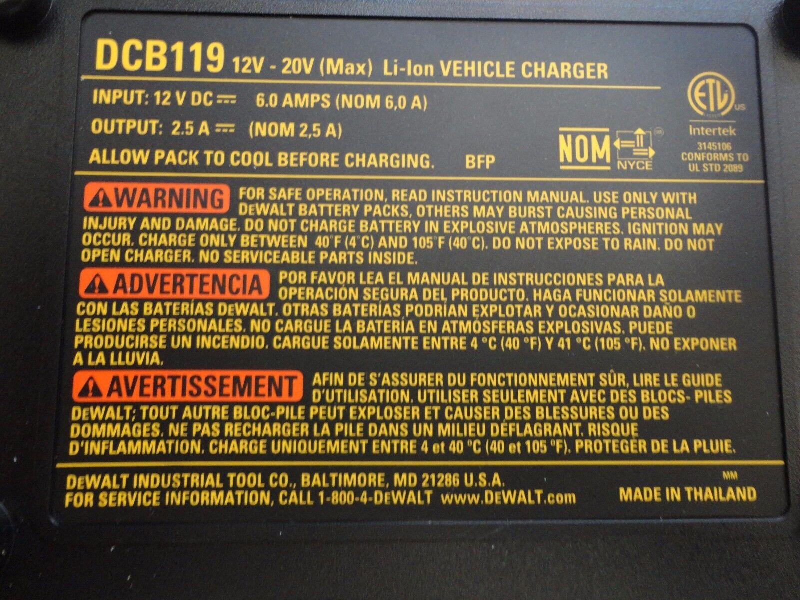 DEWALT DCB119 12V Lithium ion Battery Charger