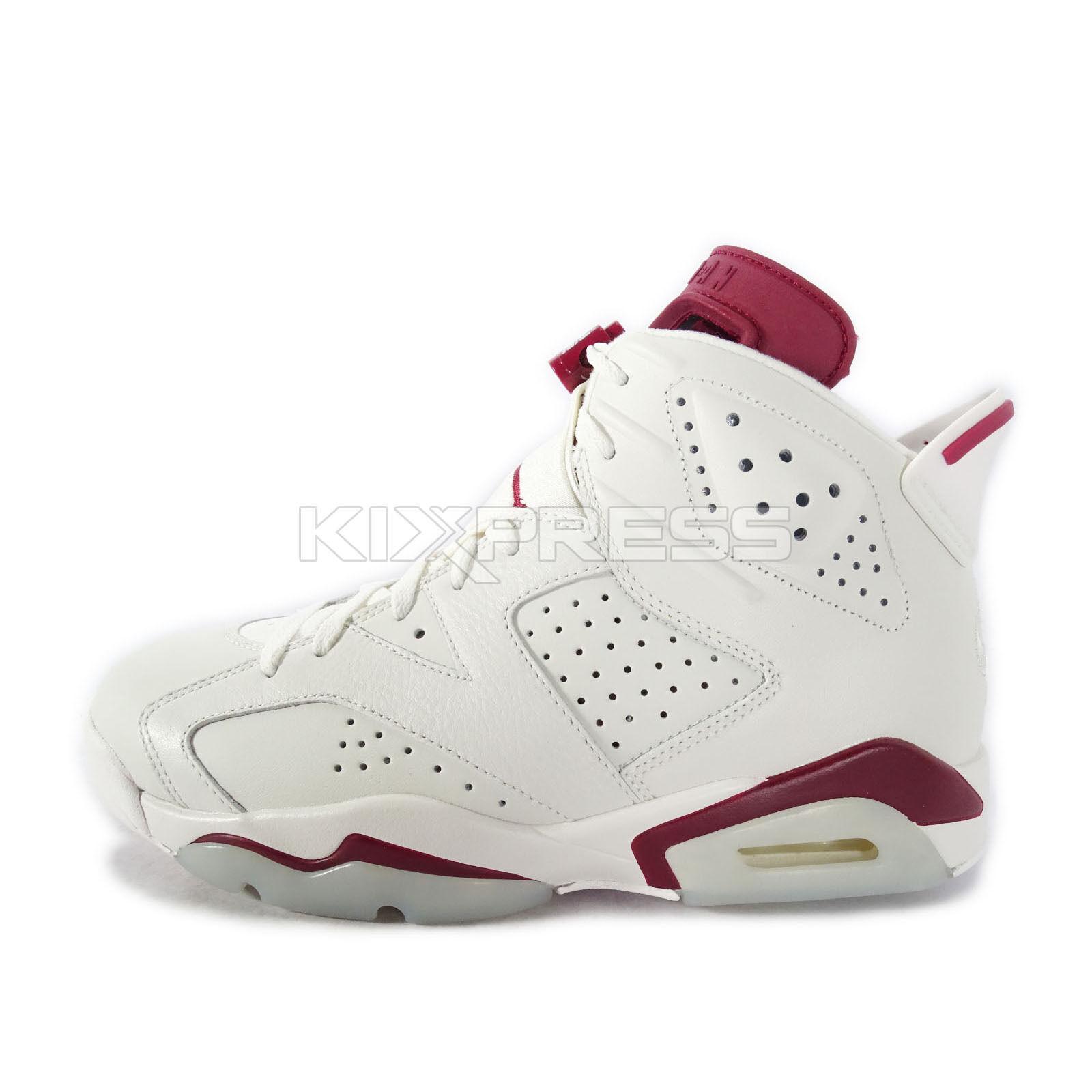 Nike Air Jordan 6 VI Retro Mahroon 2015 White 384664-116 Size 10