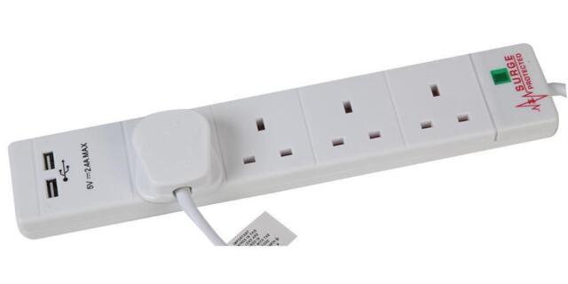 Pro ELEC PEL00096 4 Way 2 USB Surge Protected Extension Lead
