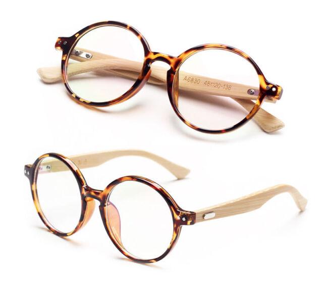 Agstum Handmade Bamboo Vintage Round Glasses Frame Optical ...