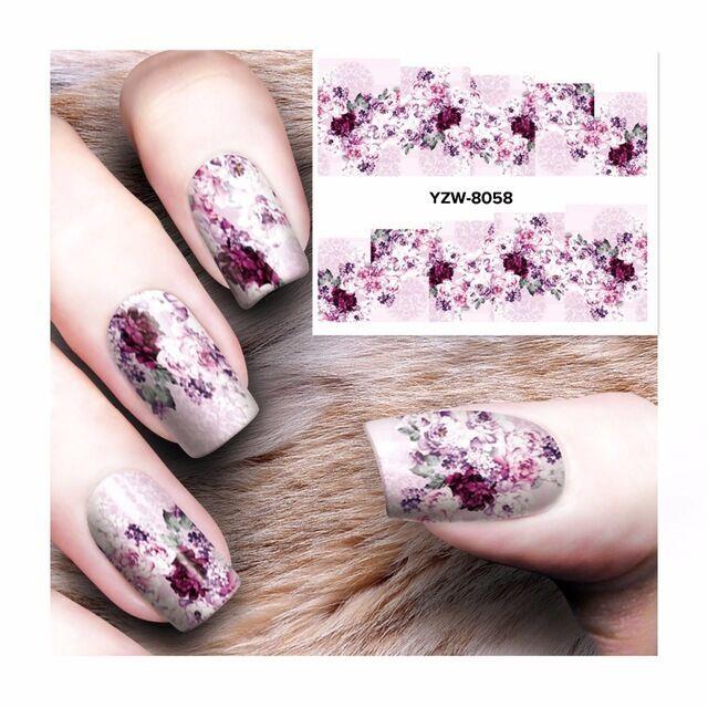Nail Art Water Decals Stickers Transfers Purple Spring Flowers Gel