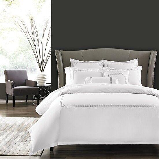 Hudson Park Bedding Dot Frame King Duvet Cover White/grey Embroidery X1217  | EBay