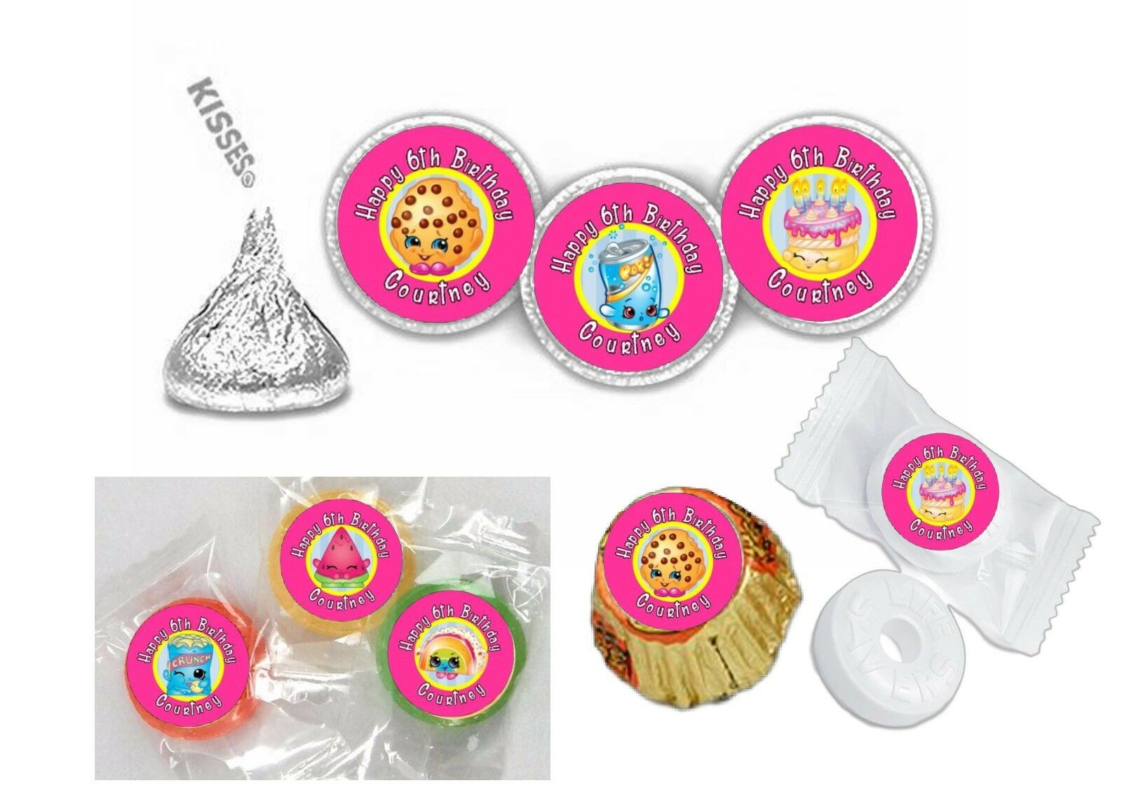 108 Shopkins Birthday Hershey Kiss Labels Favors Stickers ...