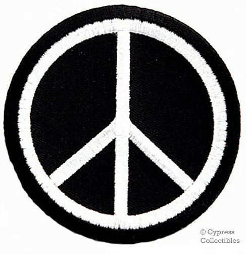 Peace Sign Iron On Embroidered Patch Hippie Black Applique Anti War