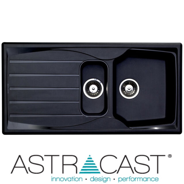 Astracast Sierra 1.5 Bowl Reversible Teflite Kitchen Sink In Black U0026 Waste  Kit