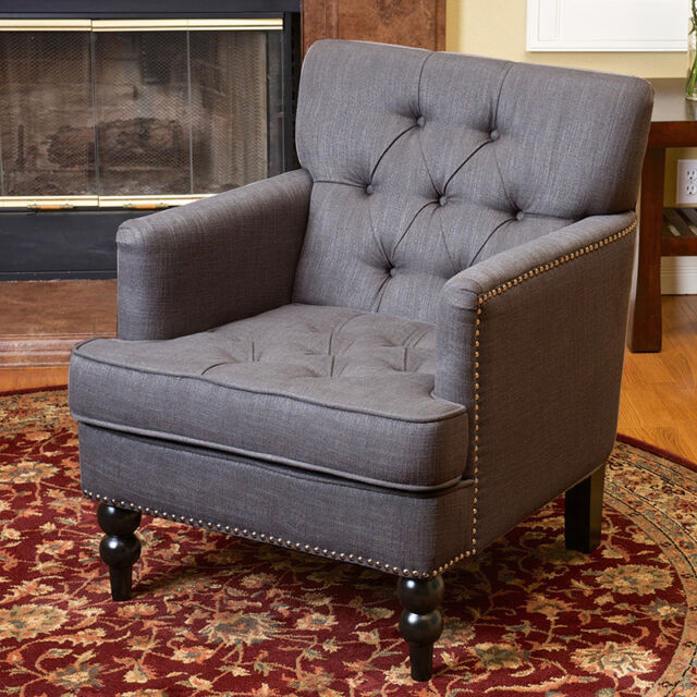 Elegant Design Grey Tufted Fabric Upholstered Club Chair w/ Nailhead Accents & Set of 2 Elegant Design Grey Tufted Fabric Upholstered Club Chairs W ...