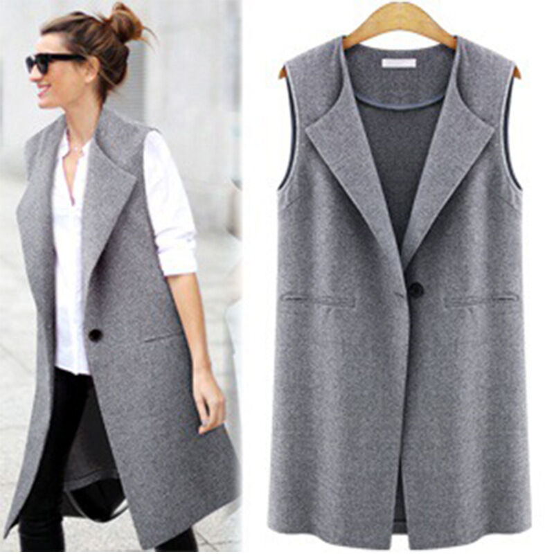 Women Casual Sleeveless Long Duster Coat Jacket Cardigan Suit Vest ...