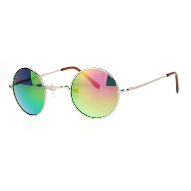 Small Round Circle Frame Sunglasses Metal Spring Hinge Mirror Lens ...