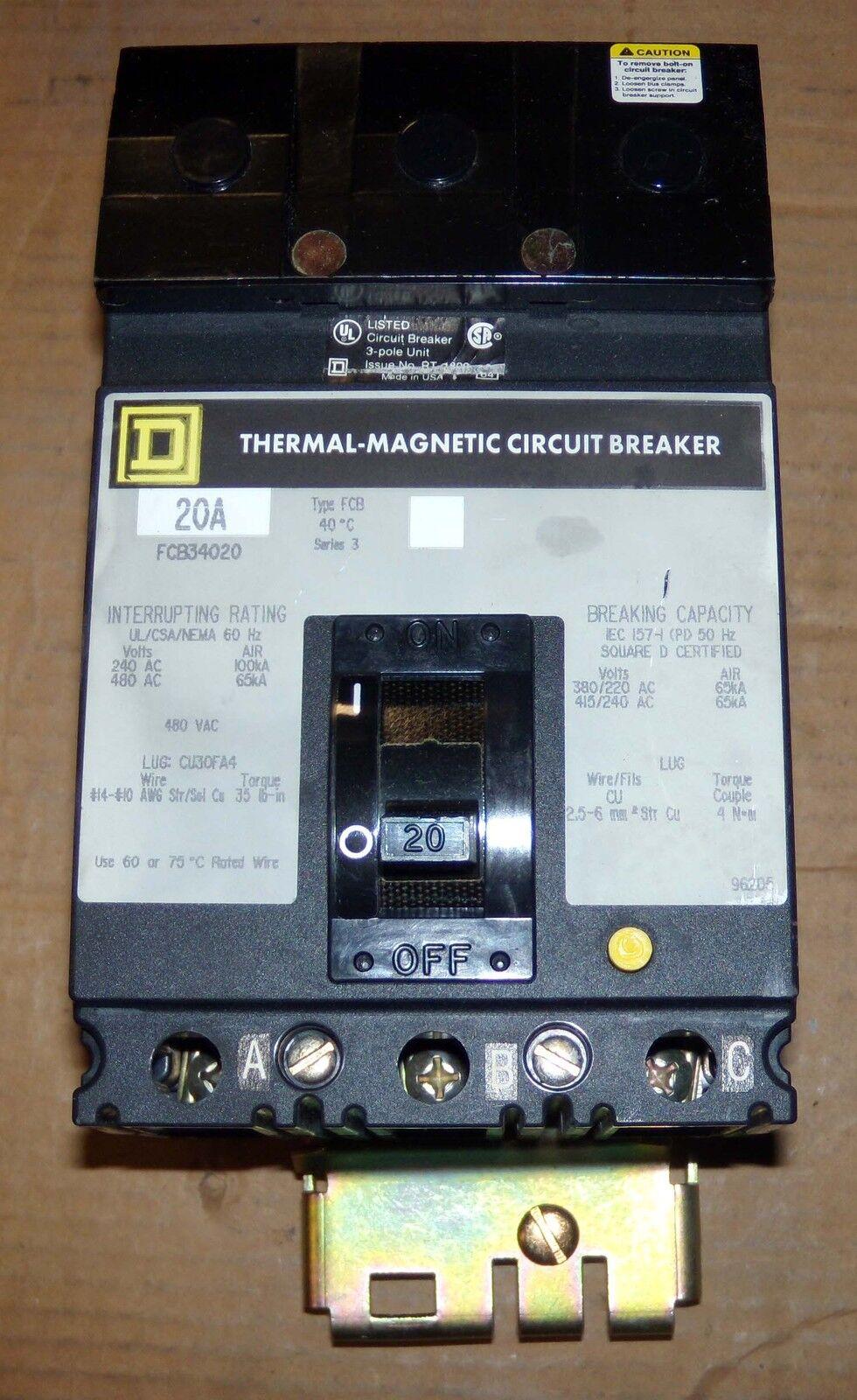 Square D FCB FCB34020 3 Pole 20 Amp 480v Circuit Breaker Gray Flawed ...