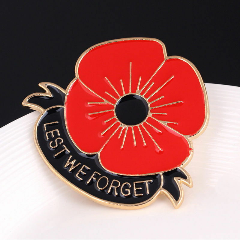 Red enamel poppy flower brooch lapel pin lest we forget new other lowest price mightylinksfo