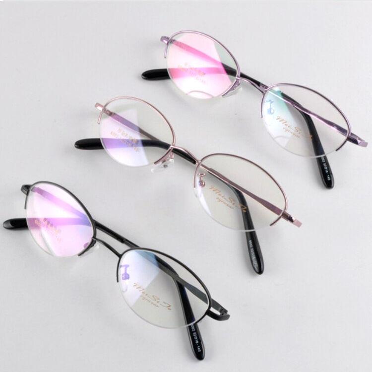 Titanium Alloy Oval Half Rim Eyeglass Round Frame Eyewear Glasses 52 ...