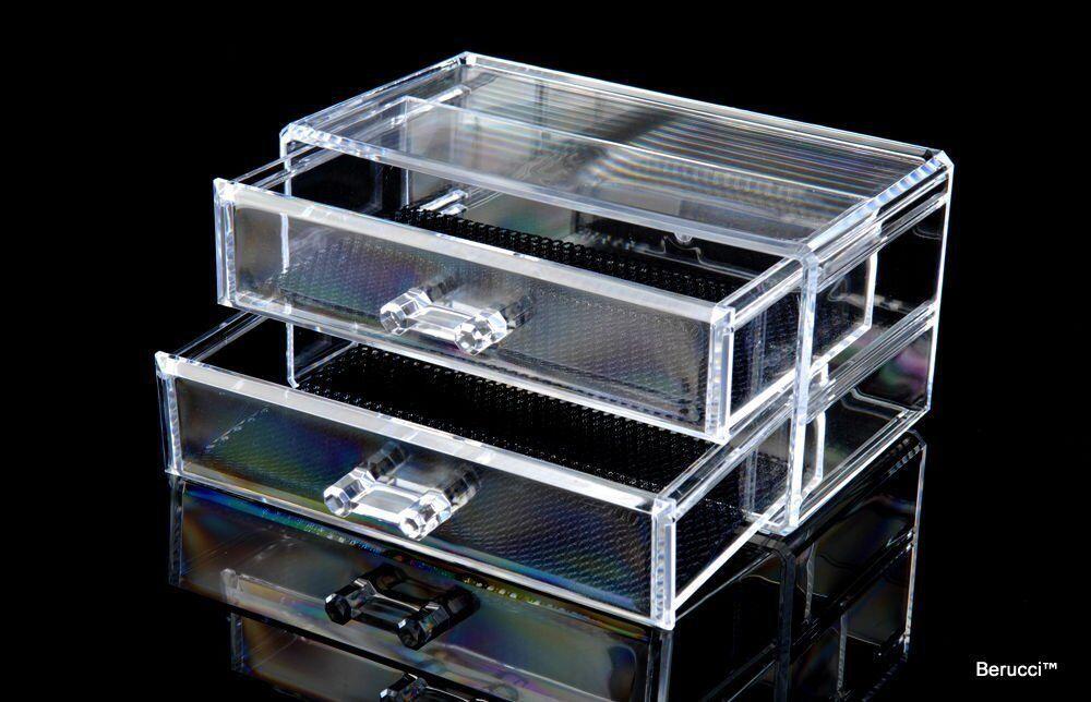Clear Acrylic Jewelry Makeup Cosmetic Organizer Storage 2 Drawer