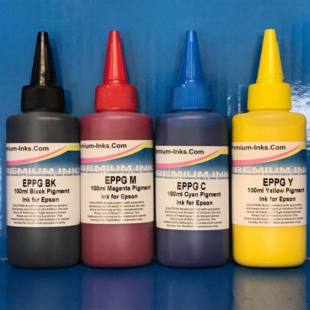 4X100ml PIGMENT INK REFILL BOTTLES EPSON ECOTANK L355 L555 ET-2550 NON OEM