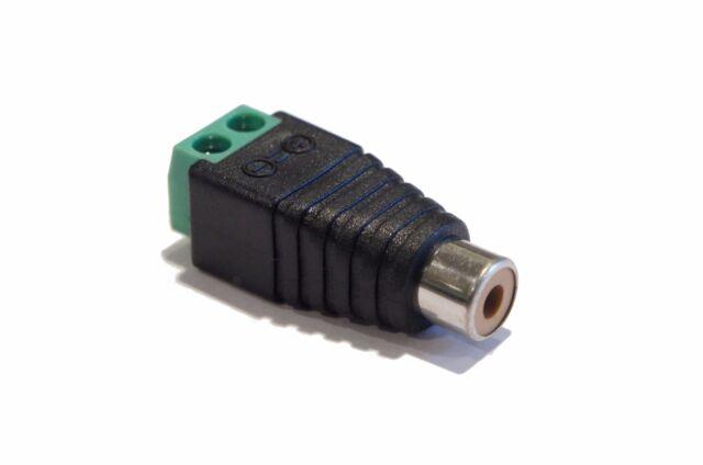 Female RCA Socket Plug to Bare Wire 2 Pin Screw Down Terminal ...