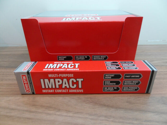 evo stik impact adhesive large tube  evo stik impact instant contact adhesive 65g tube of multi purpose glue evo stik
