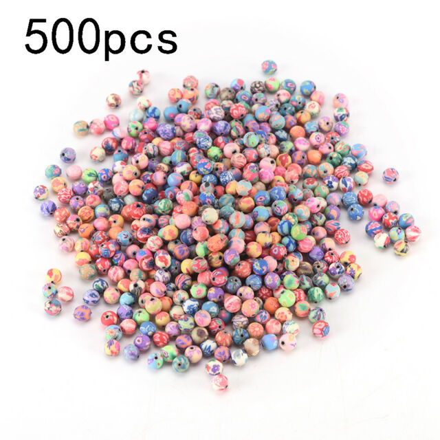 500pcs 6mm mixed flowers polymer fimo clay round diy findings loose beads