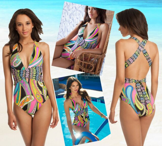 e4d04adab87 Trina Turk 6720 Womens Multi Stretch Printed One-piece Swimsuit 6 ...