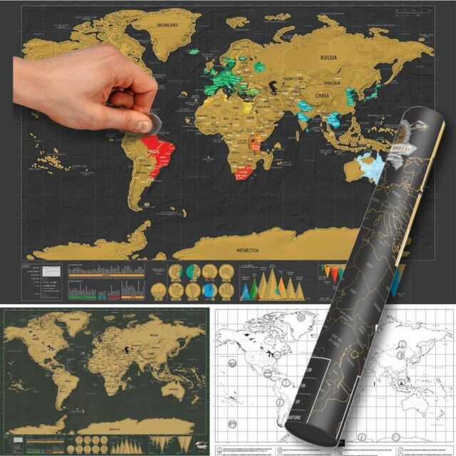 Deluxe travel edition scratch off world map poster personalized new personalized deluxe travel edition scratch off world map poster journal log gumiabroncs Images