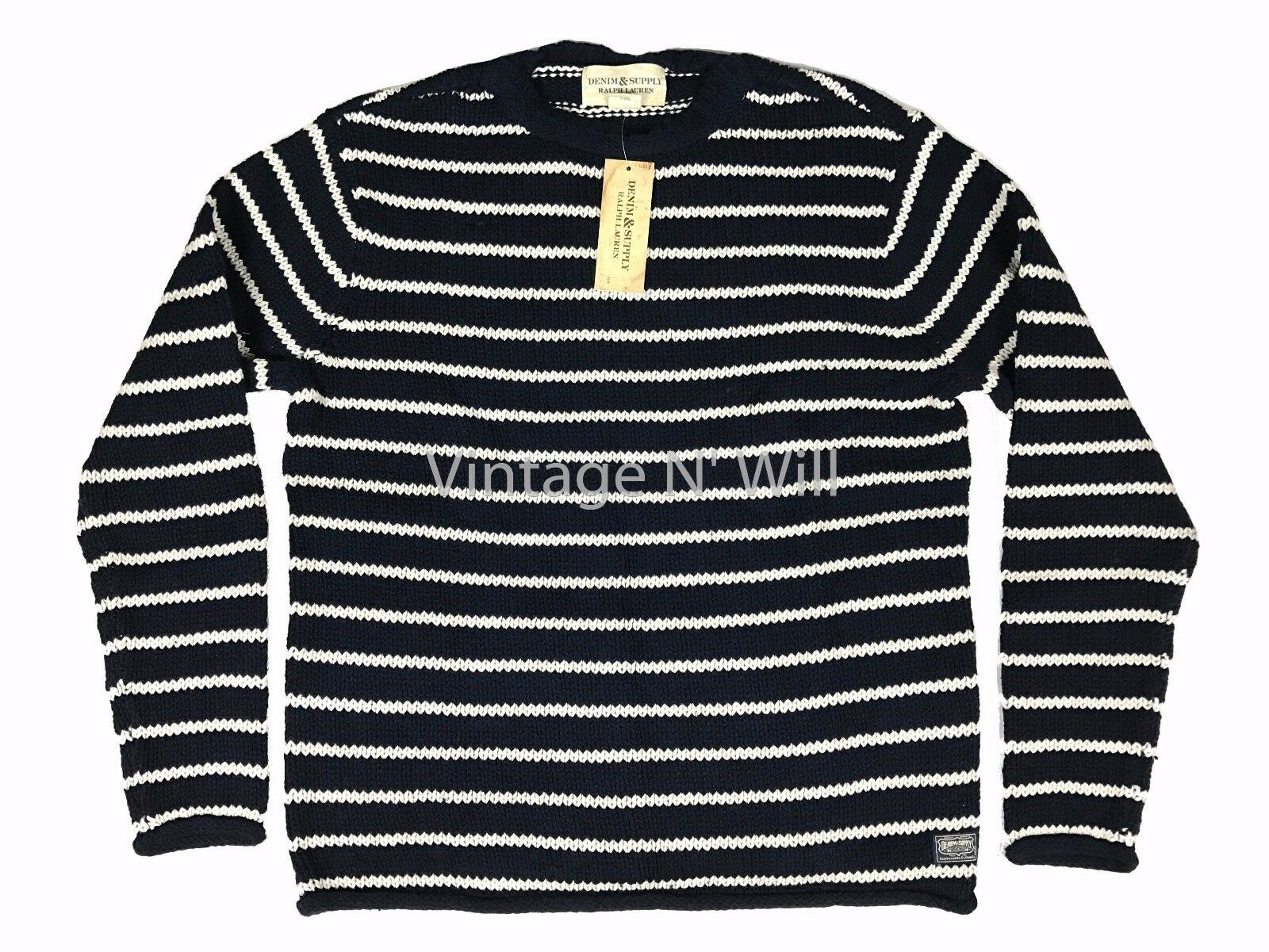 Denim Supply Ralph Lauren Mens Navy Blue/white Striped Cotton ...
