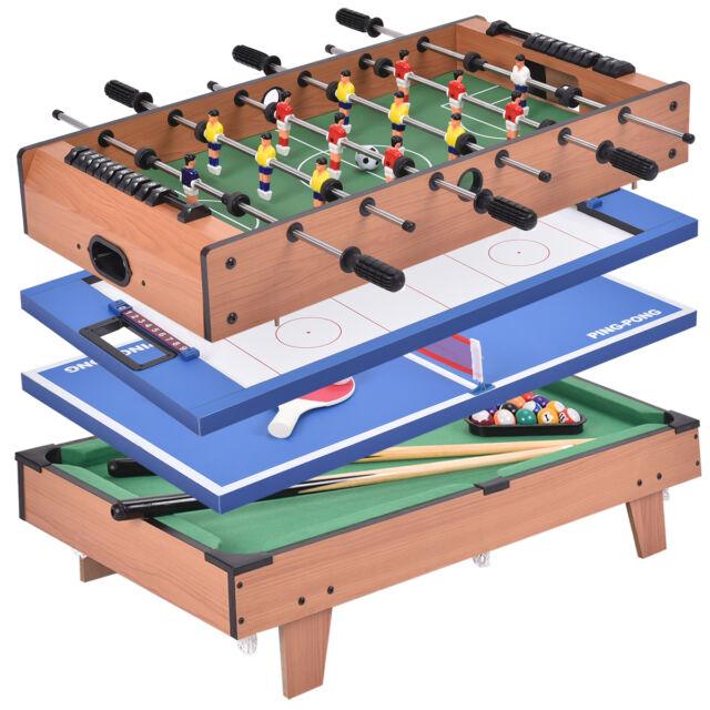 Marvelous 4 In 1 Multi Game Hockey Tennis Football Pool Table Billiard Foosball Gift