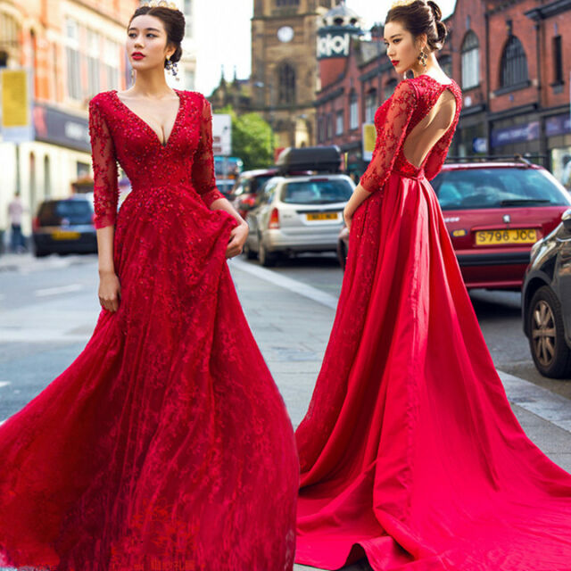 Red V Neck Beaded Backless Train Wedding Dresses Quinceanera Formal ...
