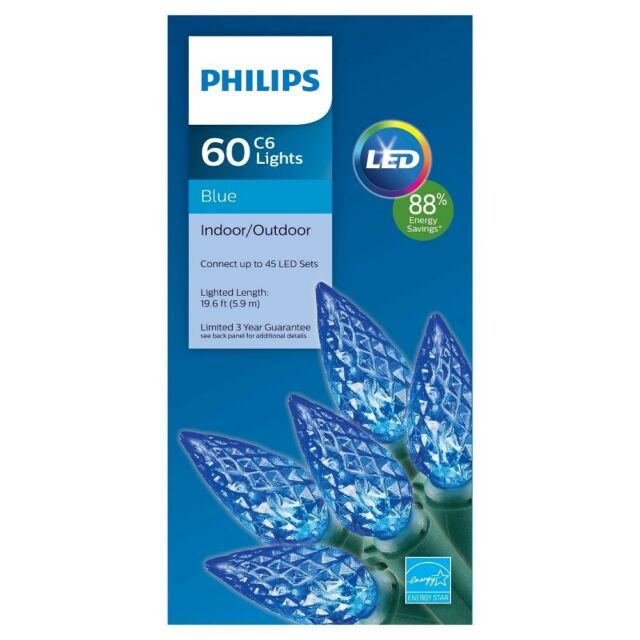 Philips 60ct Blue LED Faceted C6 Indoor/outdoor String Lights   eBay