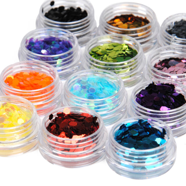 12 Color Big Hexagon Glitter Nail Art Deco Kit Acrylic Uv Powder