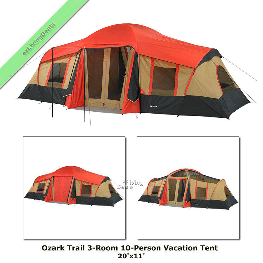 Picture 1 of 10 ...  sc 1 st  eBay & Ozark Trail Cabin Tent 10 Person 3rm 20x11u0027 Large Outdoor Camping ...