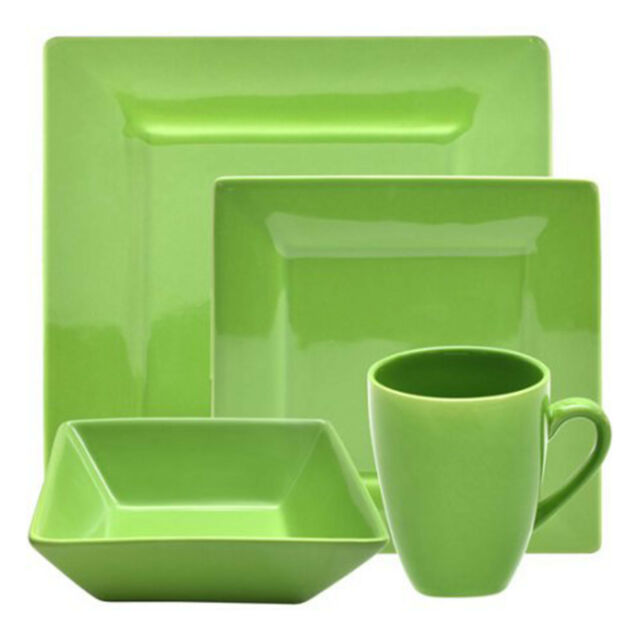 Picture 13 of 13  sc 1 st  eBay & Dinnerware Set for 4 Square 16-piece Porcelain Plates Dishes Bowls ...