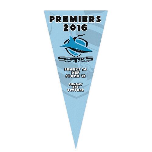 Official NRL Cronulla Sharks Premiers 2016 Statistics Felt Wall Pennant Flag
