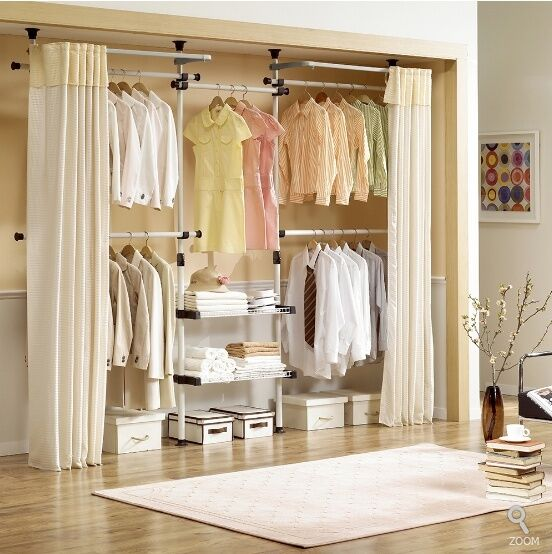 Deluxe Tier Drying Racks Shelf Hanger With Curtain Clothing Rack Closet  MINT | EBay