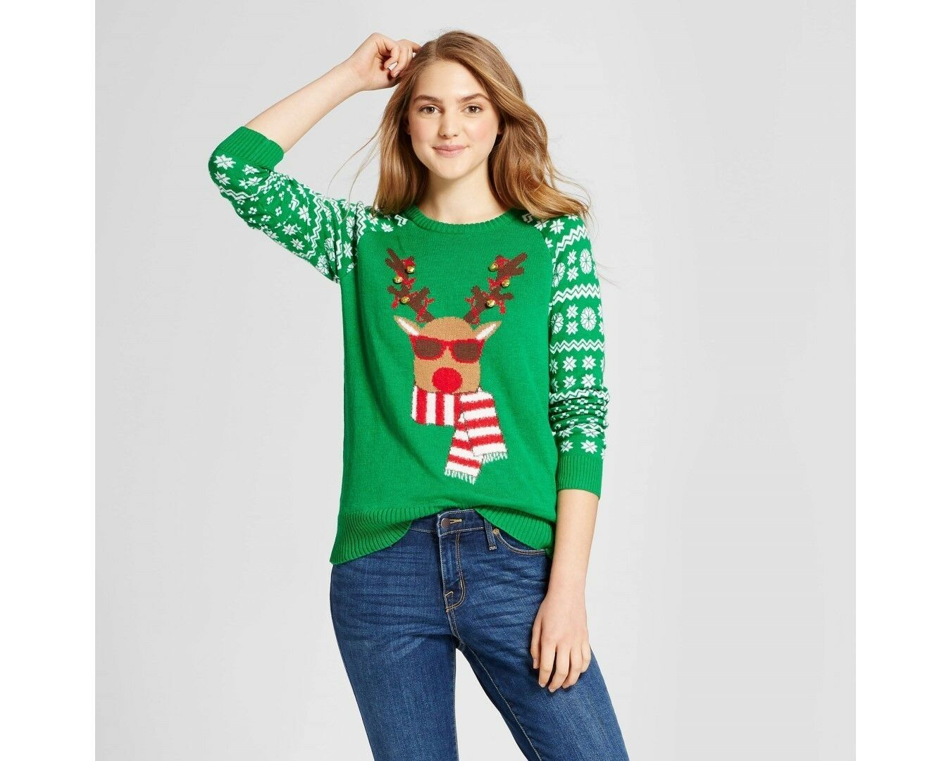 Well Worn Womens Green Reindeer With Bells LS Ugly Christmas Sweater ...
