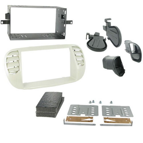 CT23FT14 FIAT 500 2008 ONWARDS IVORY DOUBLE DIN FASCIA ADAPTER FITTING KIT