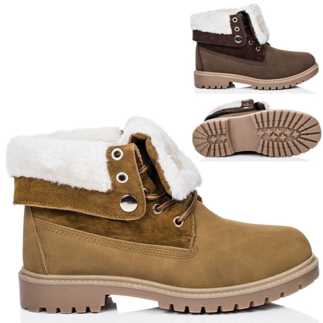 SPYLOVEBUY KINGA Lace Up Cleated Sole Shearling Flat Combat Worker Walking Ankle