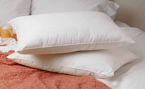 King size set of 2 white goose feather and down pillows ebay for Best king size down pillows
