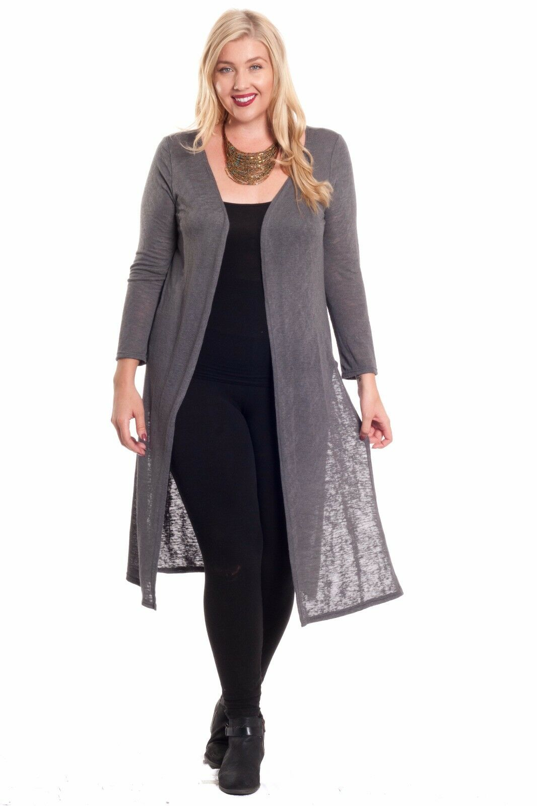 Hot Ginger Women's Plus Size Long Sleeve Open Duster Cardigan With ...