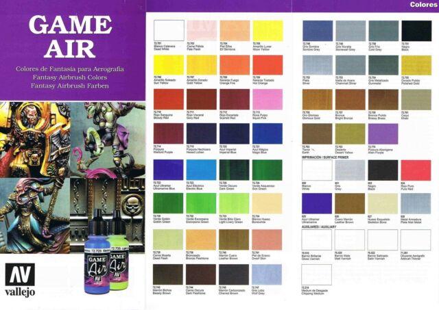 Vallejo Game Air 51 versch. 17ml+8 wash lavado Farben (100ml=22,00€) zur Auswahl