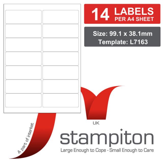 Pk 10 Stampiton Labels 14 Per A4 Sheet L7163 J7163 Laserinkjet