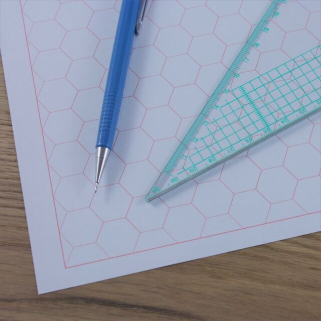 A Hexagon Graph Paper Mm Cm Grid Choice Of Colour  To  Sheets