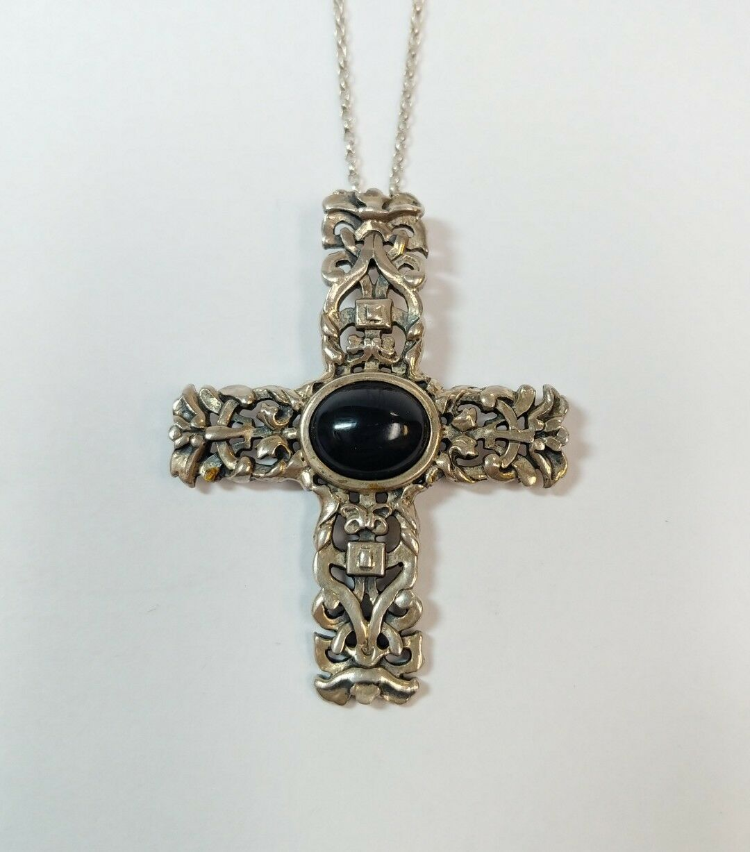 Sterling silver necklace onyx cross pendant ebay picture 1 of 6 aloadofball Images