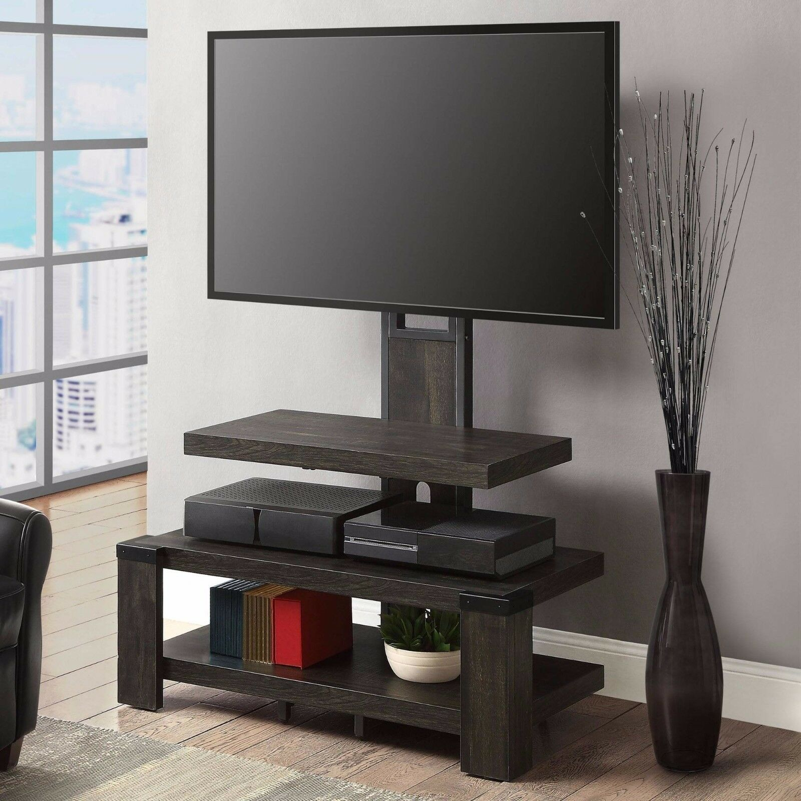wood tv stand with mount 3 shelf tv center media