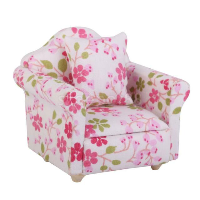Dollhouse Miniature Furniture Floral Upholstered Chair Armchair With Cushion